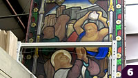 large stained glass, stoning scene