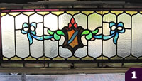 Green, pink, white stained glass
