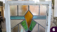 Orange, green blue stained glass